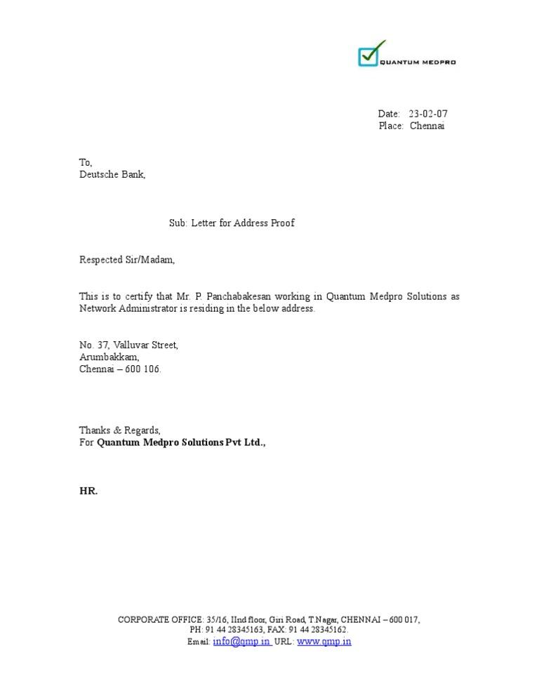 Address proof letter yelopaper Gallery