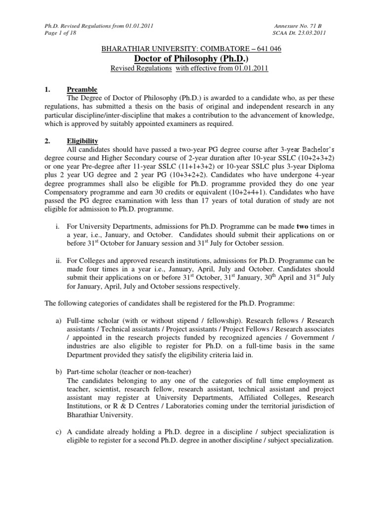 phd thesis submission status bharathiar university