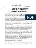 SGX-Listed InnoTek Announces Q3'11 Net Profit of S$1.2 Million on Revenue of S$96.9 Million