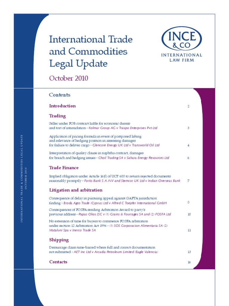 International Trade Commodities Legal Update October 2010