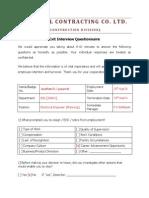 Exit Interview Questionnaire 1.0