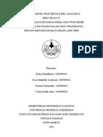 Laporan Praktikum Kimia Analisis II Analisis Furosemid Dan Hidroklortiazid Dengan Klt