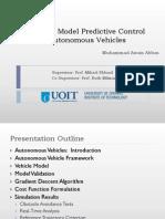 Non-Liner Model Predictive Control for Autonomous Vehicles