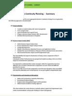 Business Continuity Planning - Summary