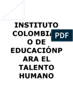 INSTITUTO COLOMBIANO DE EDUCACIÓNPARA EL TALENTO HUMANO ESPECIALIZADO