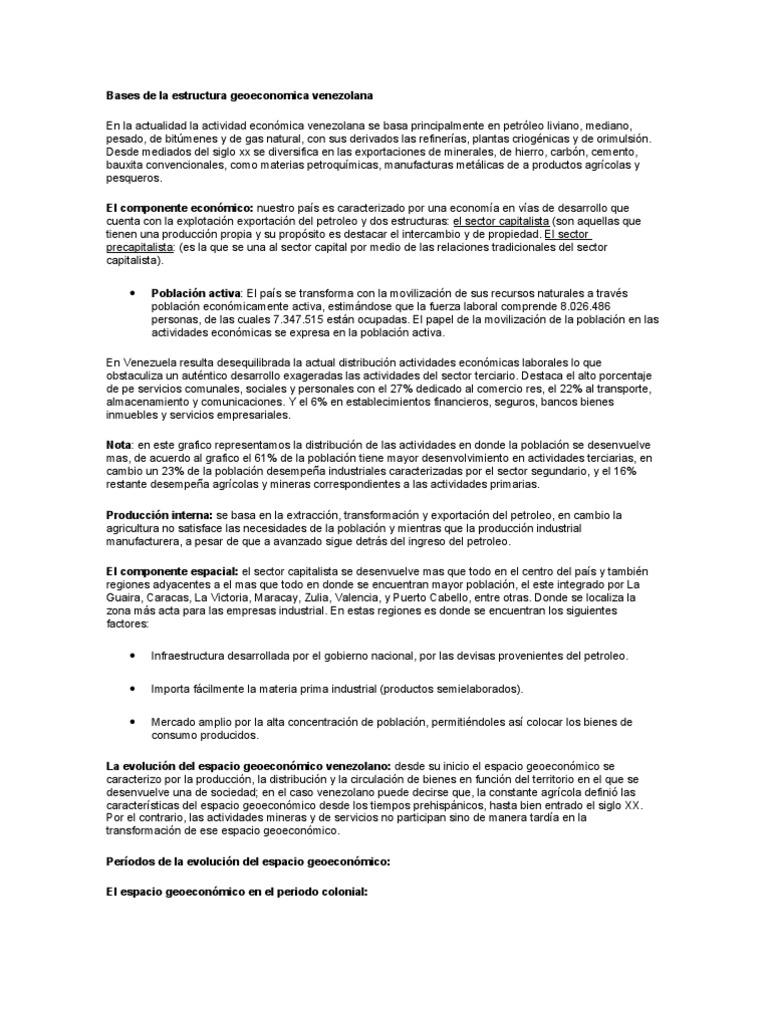 Bases De La Estructura Geoeconomica Venezolana Venezuela