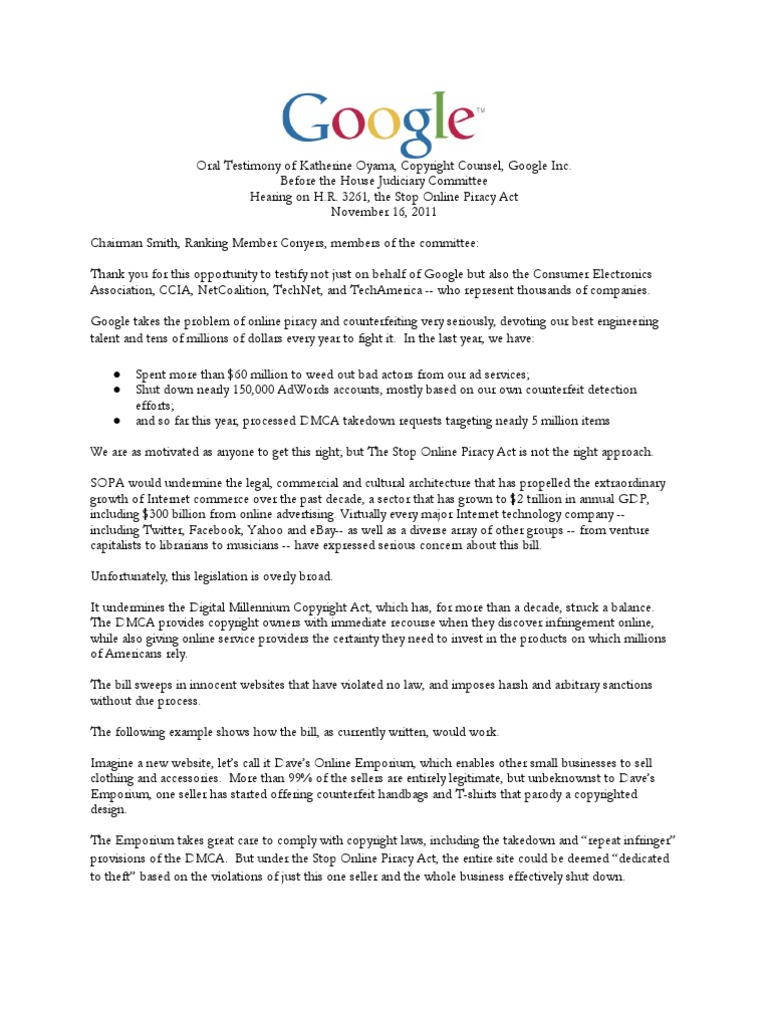 Google Sopa Oral Testimony Copyright Infringement Cyberspace