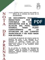111116-NP-DOCUMENTO  SITUACIÓN DE LAS CUENTAS MUNICIPALES