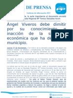 NP Ángel viveros debe dimitir por su conocimiento e inacción de la situación económica que ha dejado en el municipio de Coslada