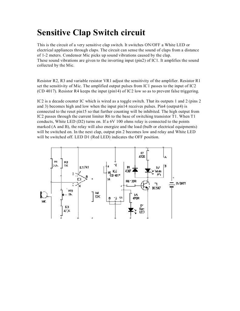 Sensitive Clap Switch Circuit 1547056422v1