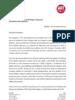 Carta de CCOO y UGT a Zapatero