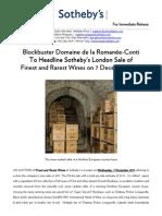Sotheby's London December Wine Sale To Feature Blockbuster Domaine de la Romanée-Conti