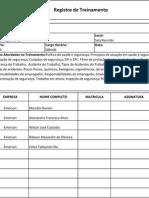 Formula Rio de Registro de Treinamento