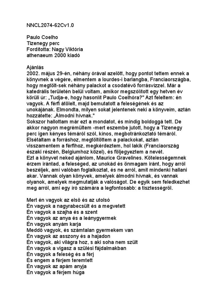 paulo coelho 11 perc idézetek Paulo Coelho   Tizenegy Perc