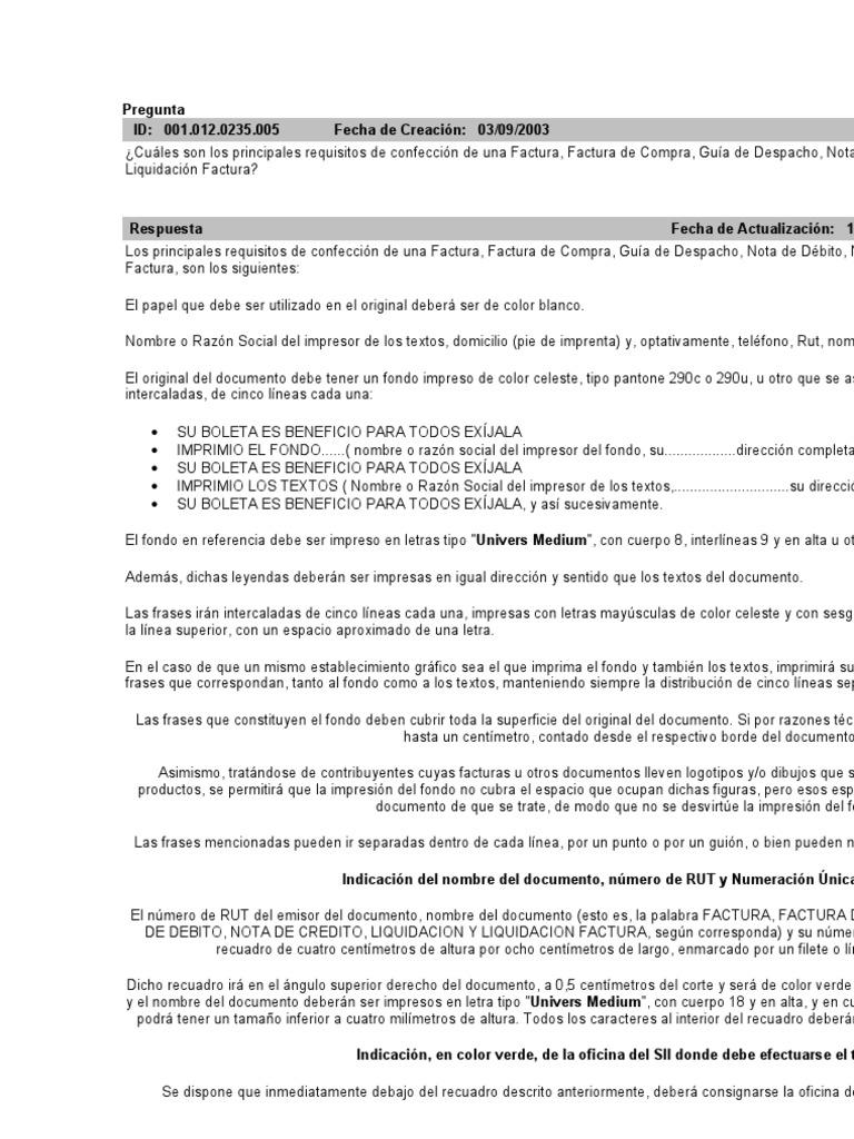 Datos Para Confeccion Factura, Guias de Despacho Etc