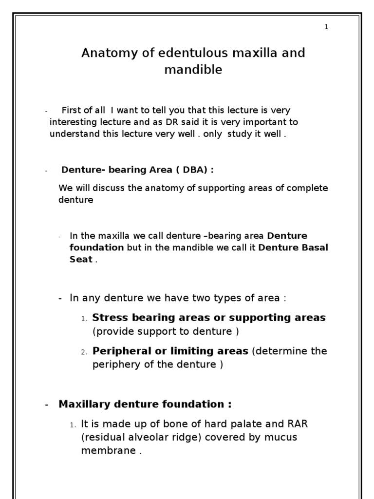 2 Anatomy Of Edentouls Maxilla And Mandible Dentures Human Anatomy