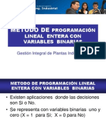 MÉTODO PROGRAMACIÓN LINEAL  ENTERA