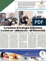 """La lezione di teologia di Bertone è come un """"abbraccio"""" all'Università - Il Resto del Carlino del 17 novembre 2011"""