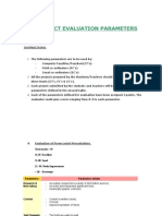 Project Evaluation Parameters