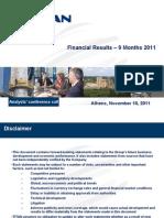 Analyst Presentation 9M 2011