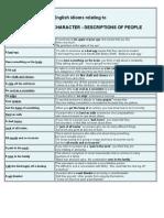 English Idioms Relating to Personality Worksheet
