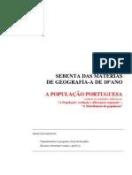 SEBENTA 10º ANO - unidade 1 e 2 - POPULAÇÃO PORTUGUESA