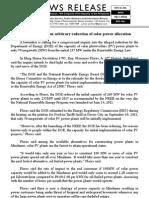 nov18.2011_b Solon seeks probe on arbitrary reduction of solar power allocation