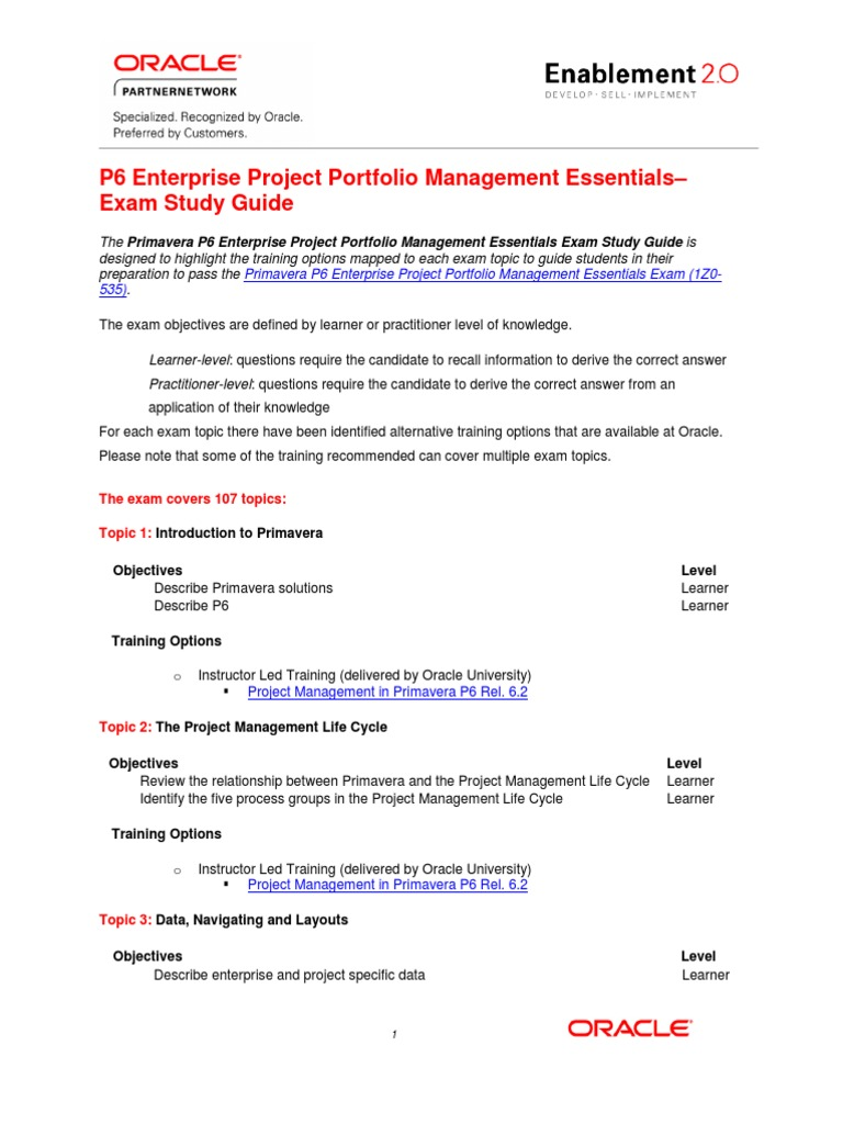 Primavera EPPM Exam Study Guide | Project Management | Oracle Database