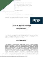 Patrick Geddes - Civics as Applied Sociology