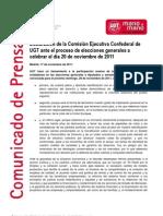 Declaración de la Comisión Ejecutiva antes las elecciones del 20N
