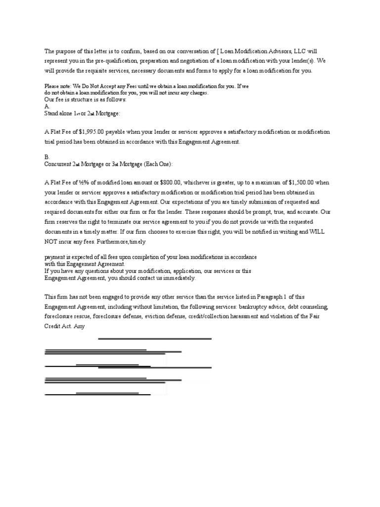 Loan Mod Agreement Foreclosure Loans