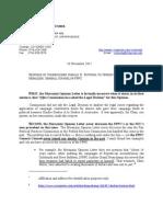 Commissioner Rotunda letter