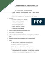 PROYECTO DEL PRIMER NÚMERO DE LA REVISTA FIAT LUX