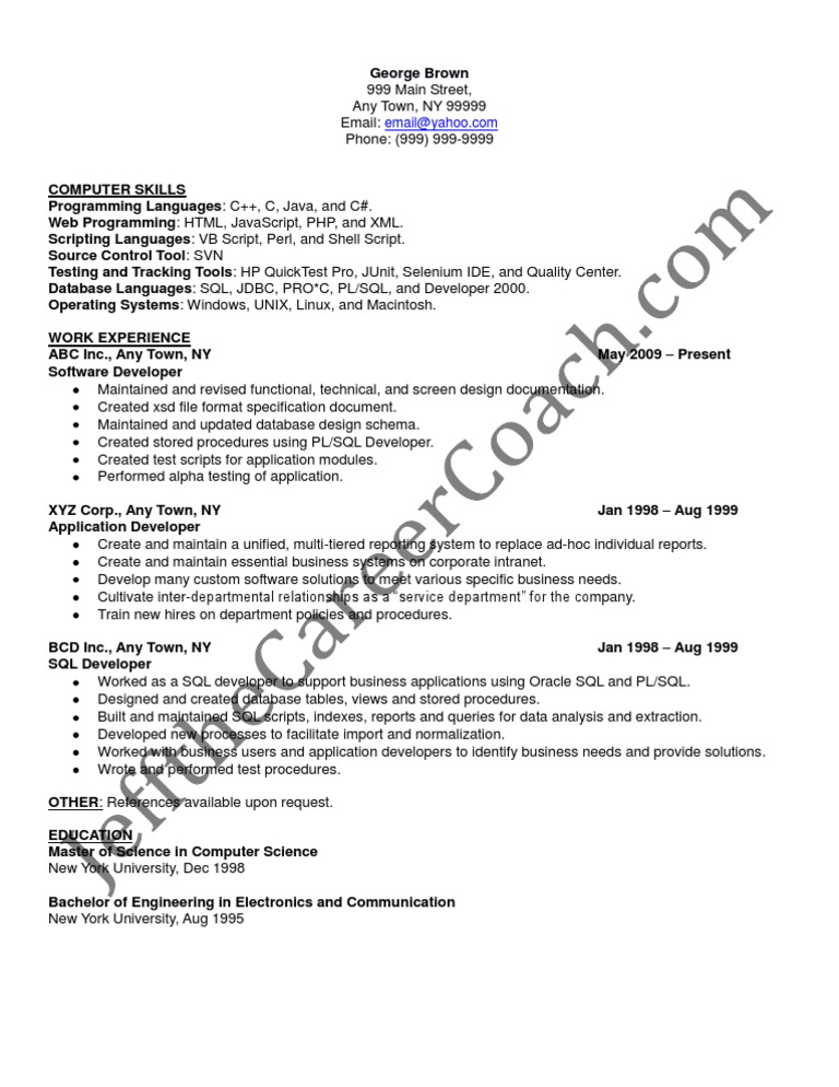 pl sql developer sample resume 3 - Sql Resumes