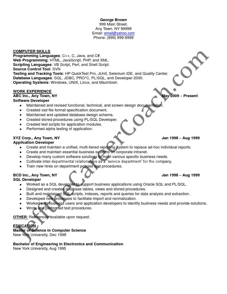 pl sql developer sample resume 3 - Sql Developer Resume