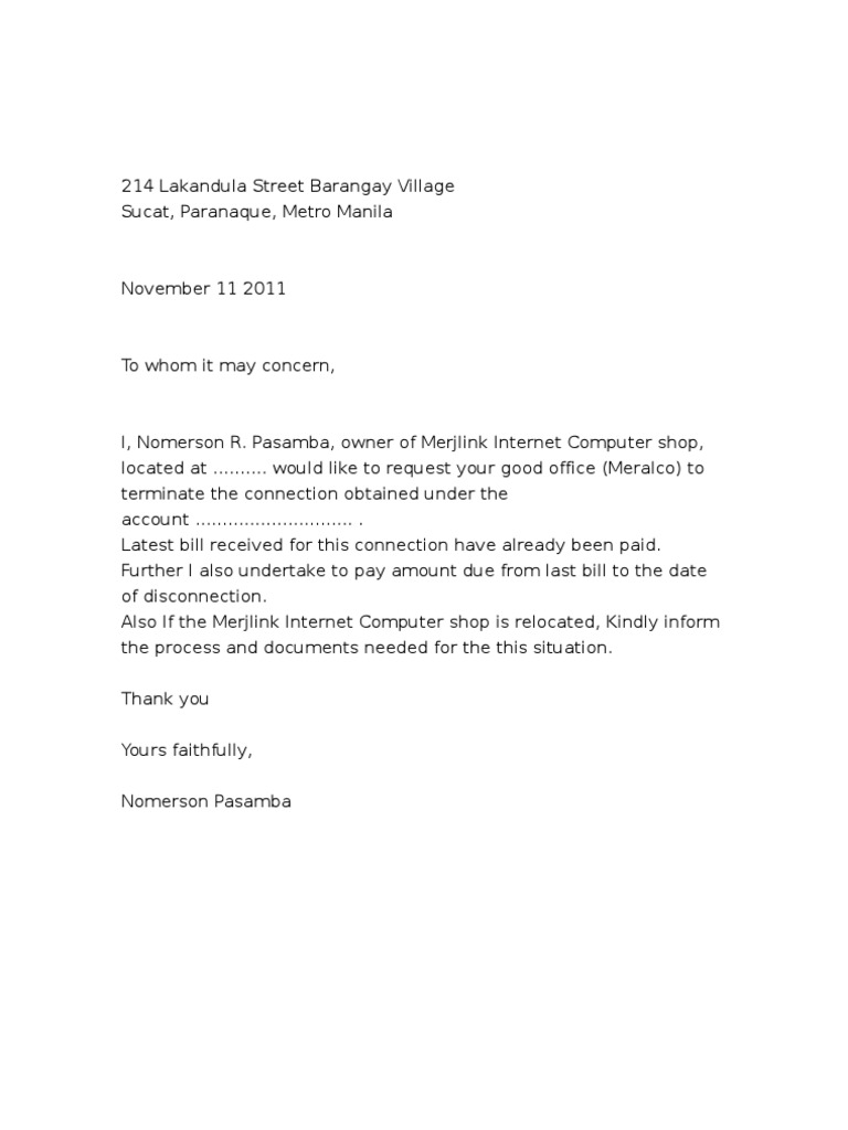 Letter of request meralco spiritdancerdesigns Image collections