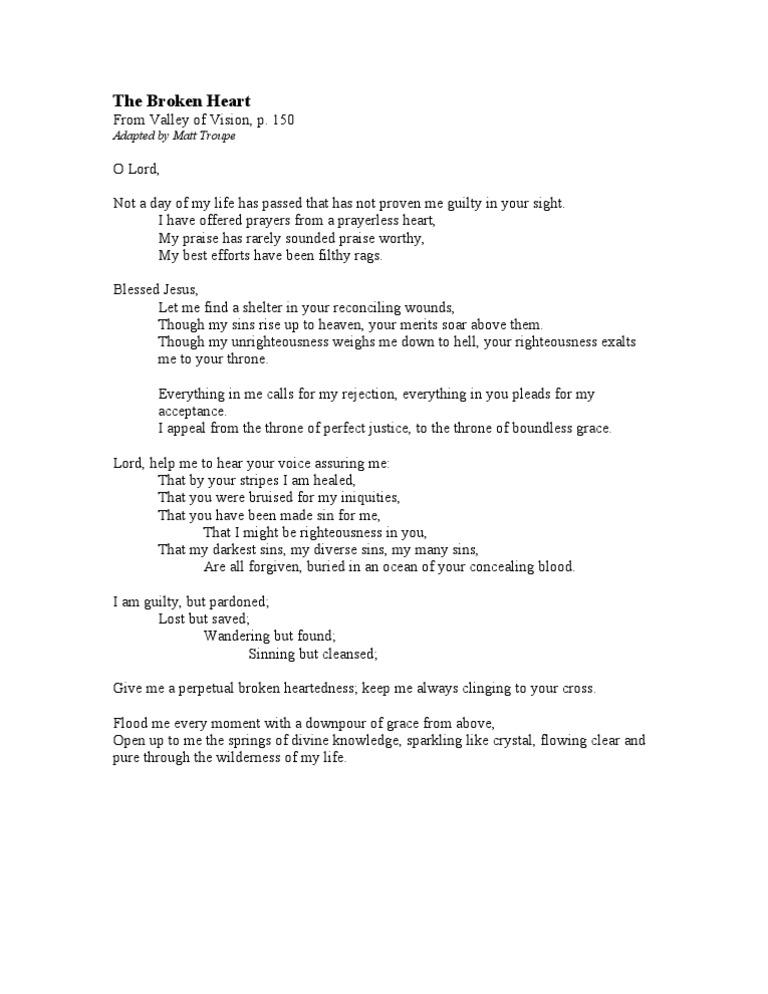 The Broken Heart-Valley of Vision Puritan Prayer