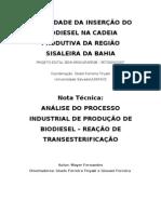 NOTA TECNICA - PROCESSO INDUSTRIAL DE PRODUÇÃO DE BIODIESEL
