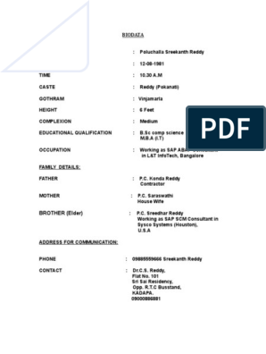 Biodata Format For Marriage Business Computing And Information Technology