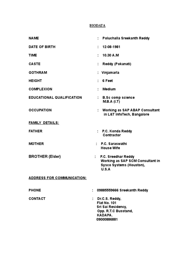 Marriage biodata sample tamil Biodata Format