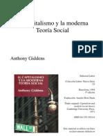 El Capitalismo y La Moderna Teoria Social de Anthony Giddens