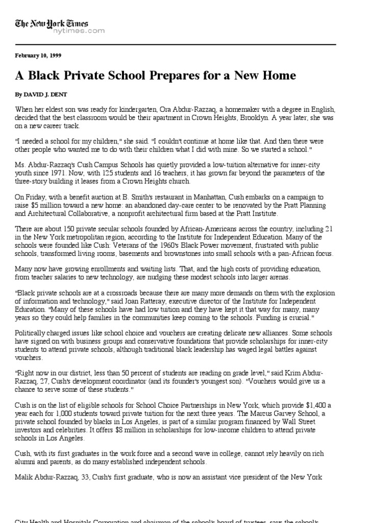 A Black Private School Prepares for a New Home - The New York Times ...