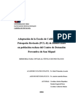 ADAPTACION DE LA ESCALA DE CALIFICACION DE LA PSICOPATIA REVISADA PCL-R DE ROBERT HARE A UNA POBLACION REC