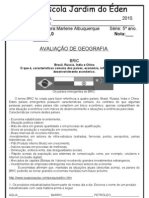 PROVA DE GEOGRAFIA 5ºANO IV BIMESTRE