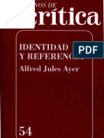 Identidad y Referencia - Alfred Jules Ayer