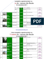 Lista Apartamentelor Cu 3 Camere de Vanzare Din Bacau La 16 Noiembrie 2011 (Download PDF)