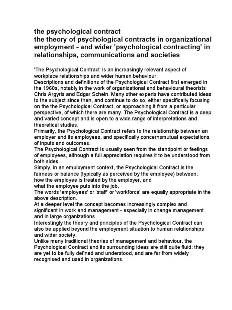 The Psychological Contract Employment Psychology Cognitive Science