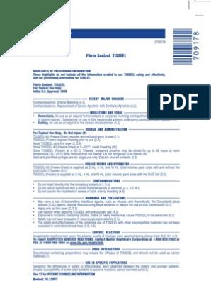 Tisseel Package Insert   Adverse Effect   Hemostasis