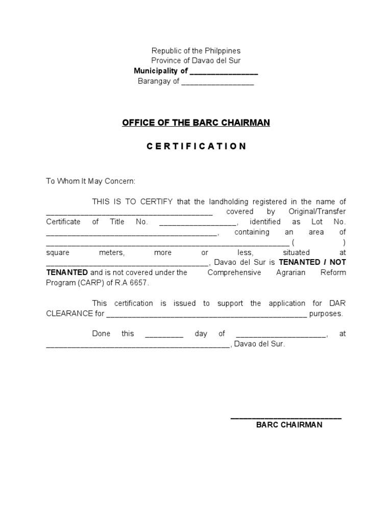Barc Certification