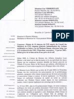 Lettre de la Ligue belge francophone des Droits de l'Homme mettant en lumière le non-respect de l'engagement pris par le gouvernement belge dans l'affaire Danon